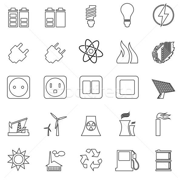 Electricity, Power and Energy Icon Set Stock photo © angelp