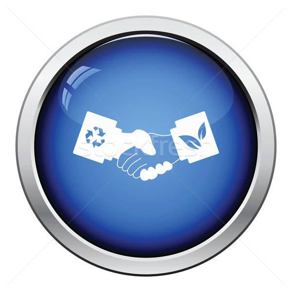 экологический икона кнопки дизайна бизнеса Сток-фото © angelp