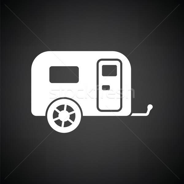 Kempingezés család karaván autó ikon feketefehér Stock fotó © angelp