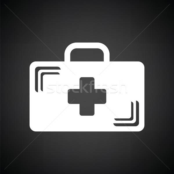 медицинской случае икона черно белые крест фон Сток-фото © angelp