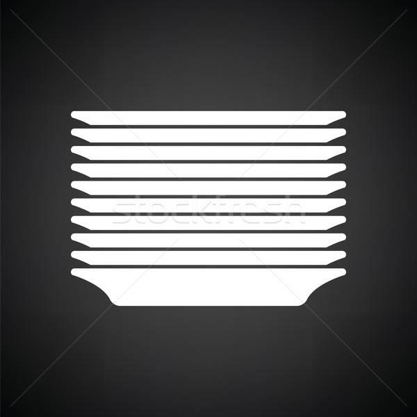 ストックフォト: プレート · スタック · アイコン · 黒白 · ホーム · ガラス