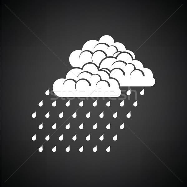 Regenval icon zwart wit computer water achtergrond Stockfoto © angelp