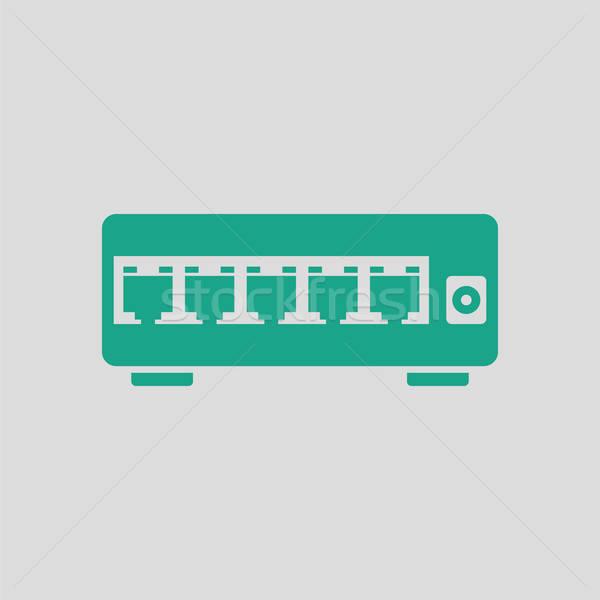 Ethernet переключатель икона серый зеленый бизнеса Сток-фото © angelp