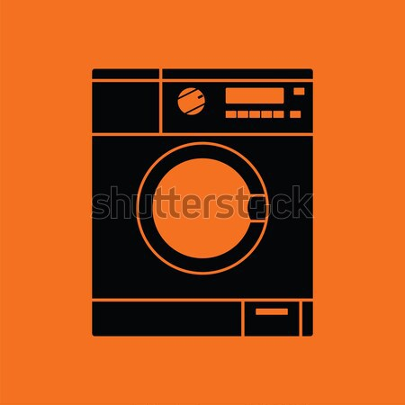 Mosógép ikon narancs fekete ház otthon Stock fotó © angelp