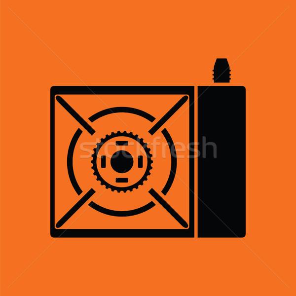 Kempingezés benzin tűzhely ikon narancs fekete Stock fotó © angelp