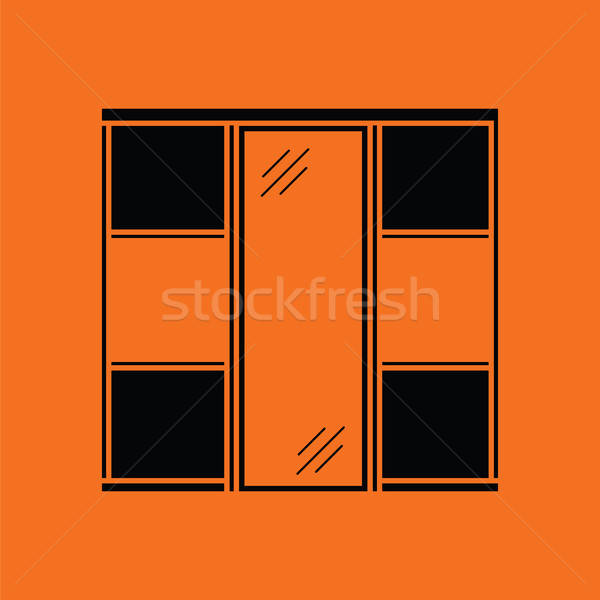 Garderobe kast icon oranje zwarte mode Stockfoto © angelp