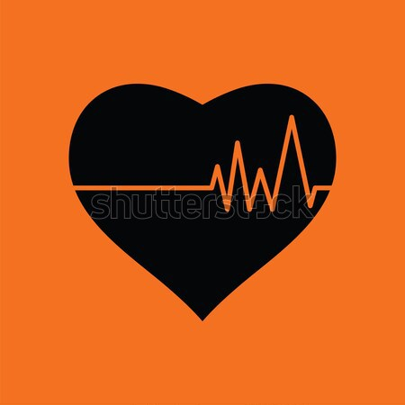 Coeur cardio diagramme icône orange noir Photo stock © angelp