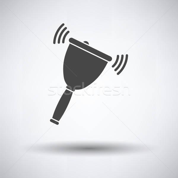 Schule Hand Glocke Symbol grau Hintergrund Stock foto © angelp