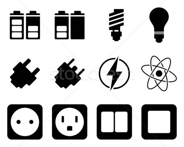 Electricity and energy icon set Stock photo © angelp