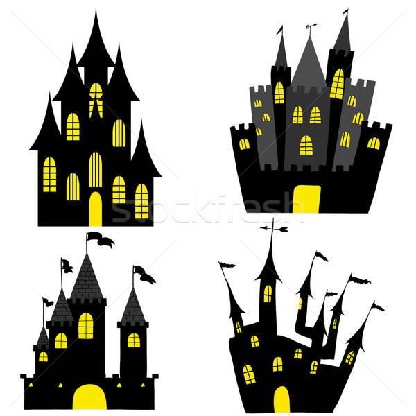 Stok fotoğraf: Kale · ayarlamak · halloween · siyah · sarı · pencereler