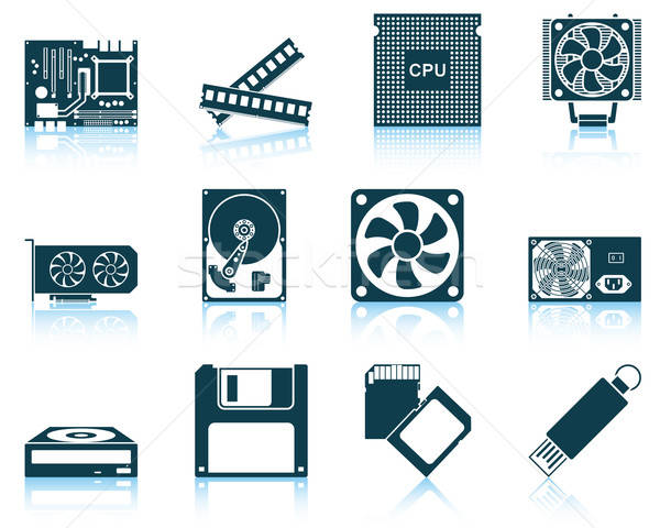Set of computer hardware icons Stock photo © angelp