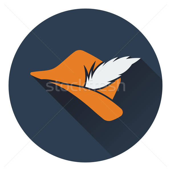 Icon of hunter hat with feather Stock photo © angelp