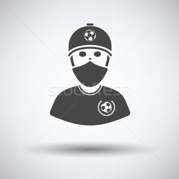 Stock fotó: Futball · ventillátor · fedett · arc · sál · ikon
