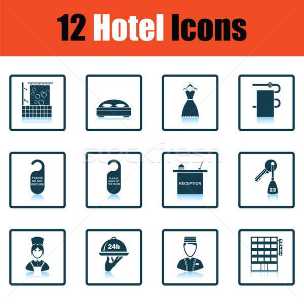 Set dodici hotel icone ombra Foto d'archivio © angelp