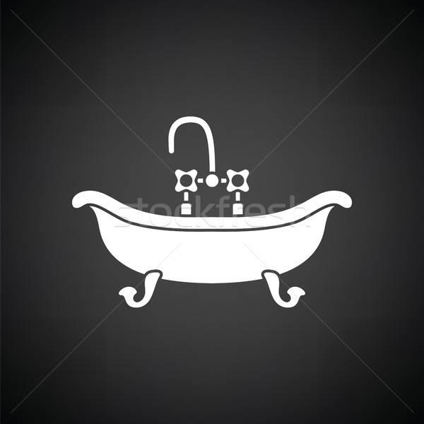 Vasca da bagno icona bianco nero acqua sfondo bagno Foto d'archivio © angelp