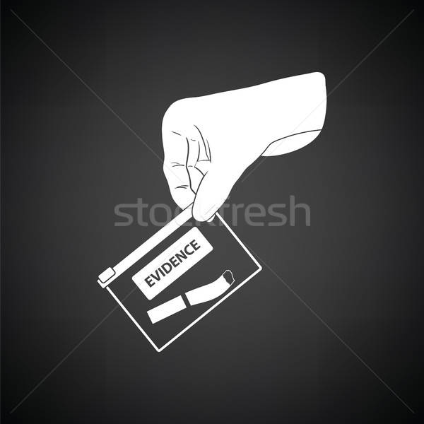 Hand holding evidence pocket icon Stock photo © angelp