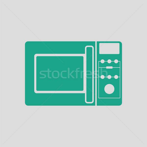 Mikro hullám sütő ikon szürke zöld Stock fotó © angelp