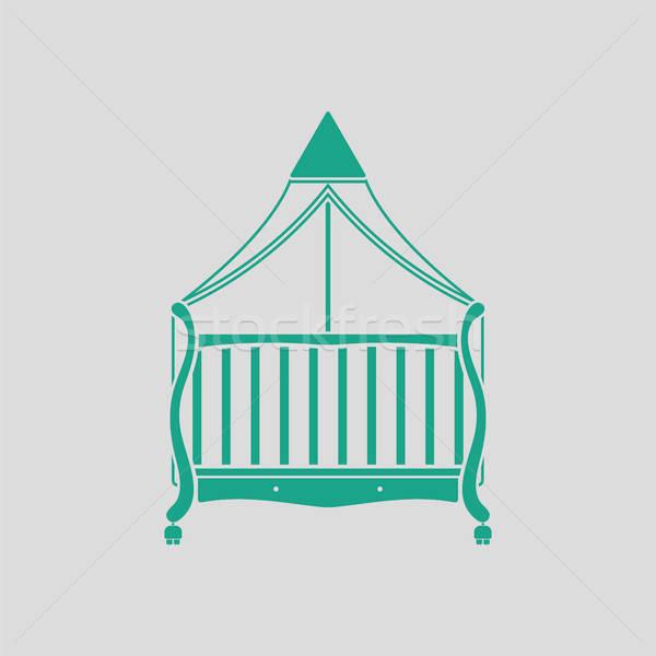 Kołyska ikona szary zielone szczęśliwy domu Zdjęcia stock © angelp
