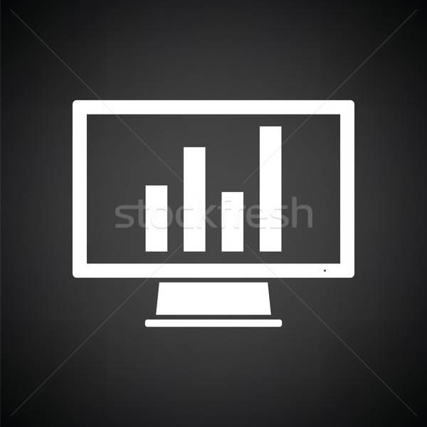 Foto d'archivio: Monitor · analitica · diagramma · icona · bianco · nero · computer