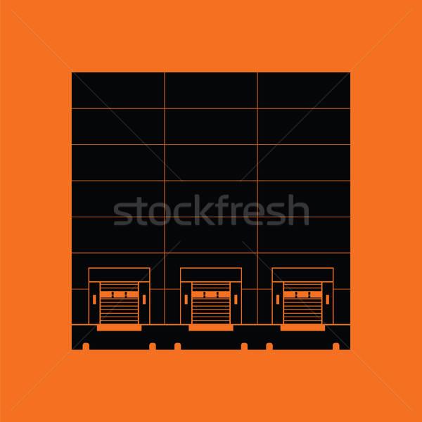 倉庫 アイコン オレンジ 黒 金属 業界 ストックフォト © angelp