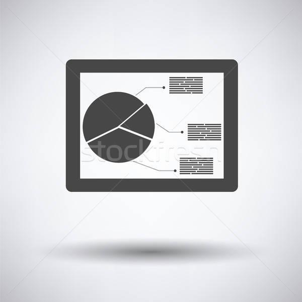 Tablet analytics diagram icon grijs business Stockfoto © angelp