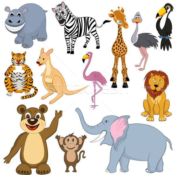 Set of 12 Cartoon Animals Stock photo © angelp