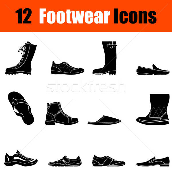 Set of man's footwear icons Stock photo © angelp
