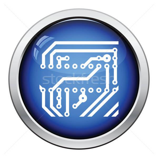 Circuito icona lucido pulsante design tecnologia Foto d'archivio © angelp