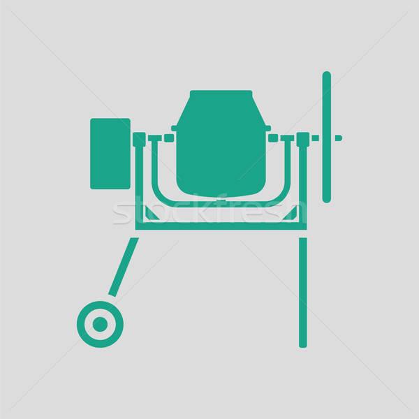 ícone concreto batedeira cinza verde edifício Foto stock © angelp