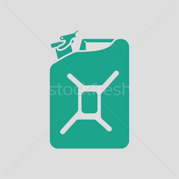 Brandstof icon grijs groene energie gas Stockfoto © angelp