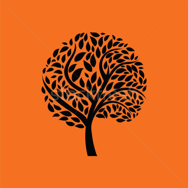 экологический дерево листьев икона оранжевый черный Сток-фото © angelp