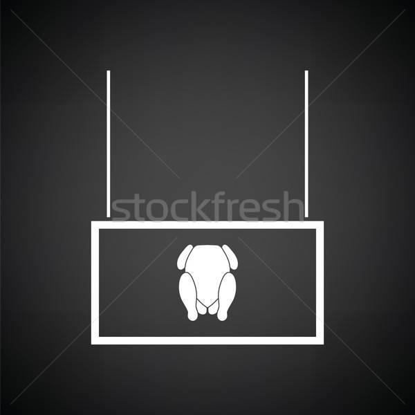 Baromfi piac részleg ikon feketefehér felirat Stock fotó © angelp