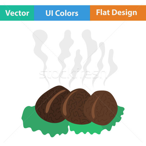 Flat design icon of Smoking cutlet on plate Stock photo © angelp