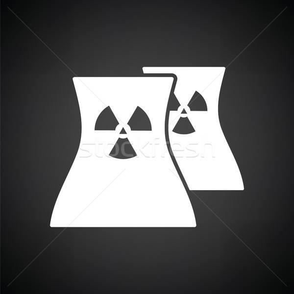 Nuclear estação ícone preto e branco fumar preto Foto stock © angelp