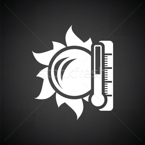 Soleil thermomètre élevé température icône blanc noir Photo stock © angelp
