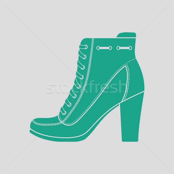 Boka csizma ikon szürke zöld vásárlás Stock fotó © angelp