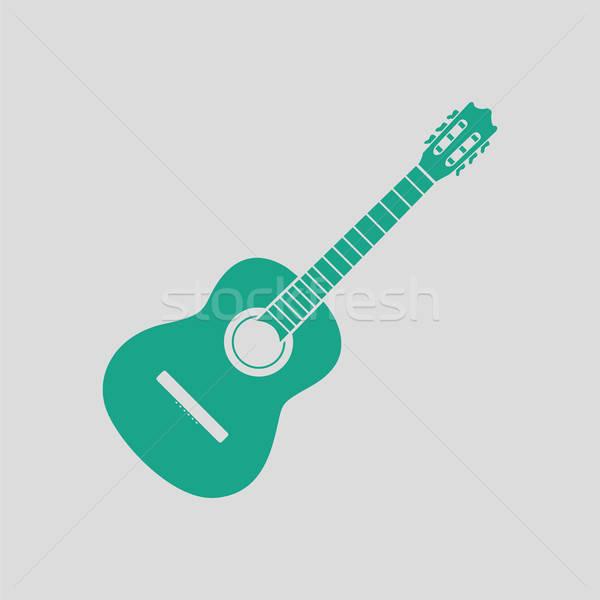 Guitare acoustique icône gris vert mode métal Photo stock © angelp