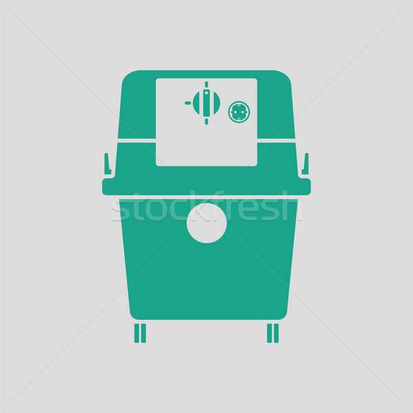Aspirapolvere icona grigio verde casa piano Foto d'archivio © angelp