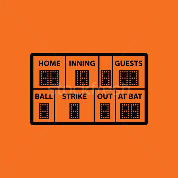 Baseball scorebord icon oranje zwarte hemel Stockfoto © angelp