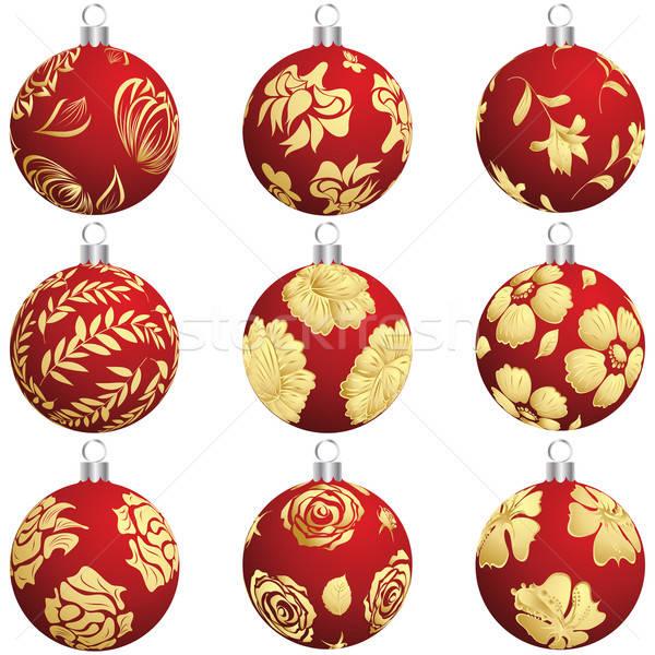 Сток-фото: Рождества · мяча · набор · Новый · год · дизайна
