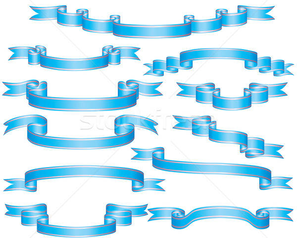 set of blue ribbons Stock photo © angelp