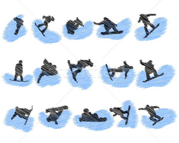 Set of snowboard athlete grunge silhouettes Stock photo © angelp