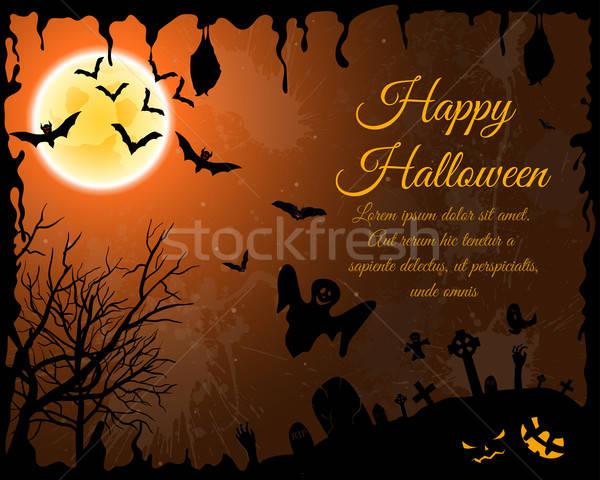 Halloween üdvözlőlap boldog elegáns terv ijesztő Stock fotó © angelp