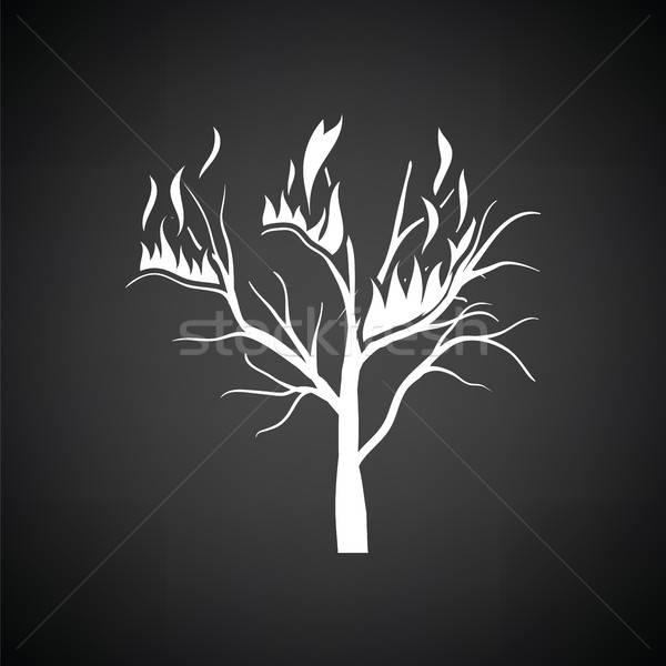 Wildfire ikona czarno białe drzewo ognia lasu Zdjęcia stock © angelp