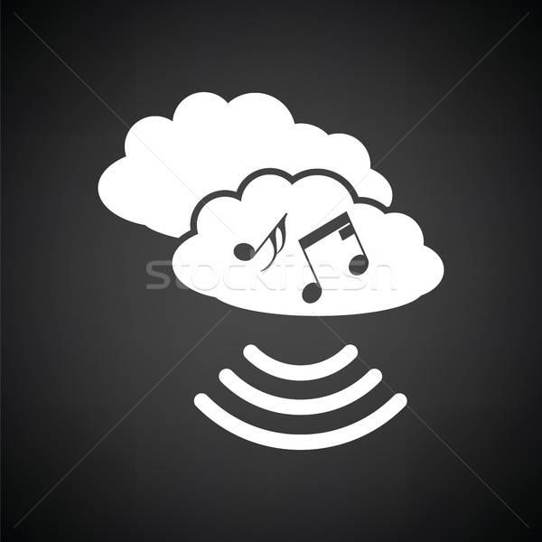 Muzyki chmura icon czarno białe niebo technologii sieci Zdjęcia stock © angelp