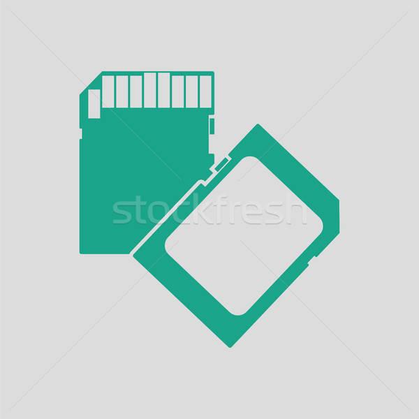 Bellek kart ikon gri yeşil teknoloji Stok fotoğraf © angelp