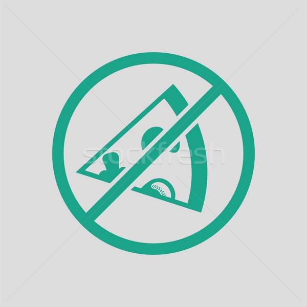 Verboden pizza icon grijs groene fitness Stockfoto © angelp