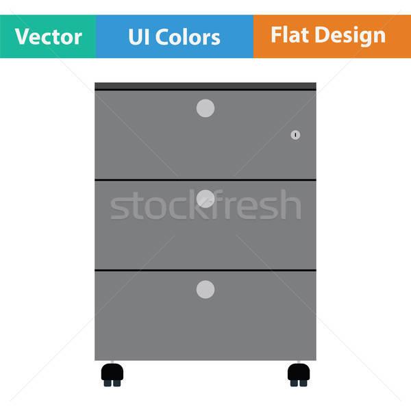 Iroda faliszekrény ikon háttér asztal szoba Stock fotó © angelp