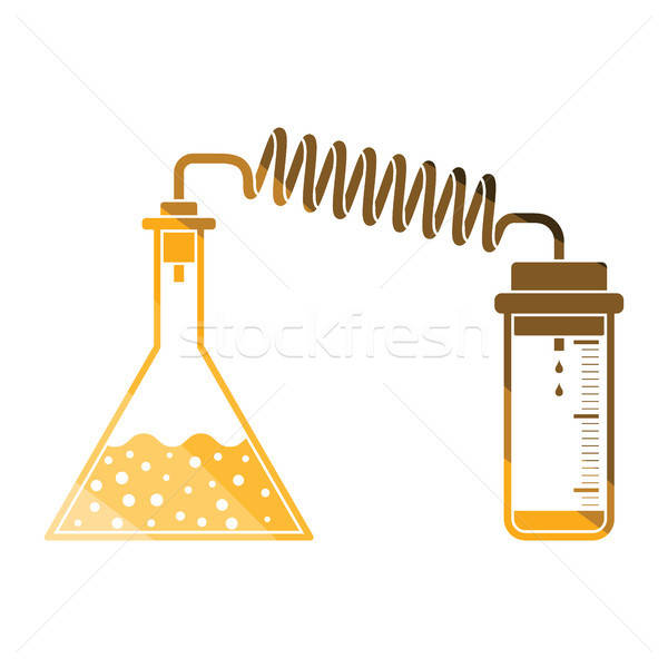 Icon of chemistry reaction with two flask Stock photo © angelp