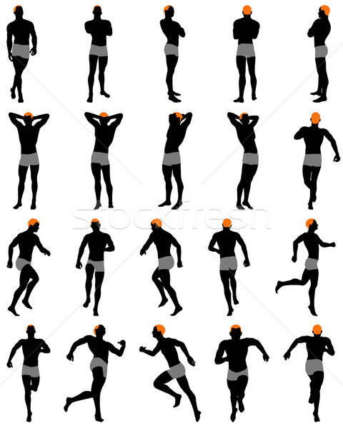 Ingesteld mannen silhouet gedetailleerd kleur kapsel Stockfoto © angelp